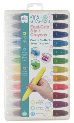 First Creations - Crayons & Chalk - Easi-Grip 3 in 1 Crayons Set of 12