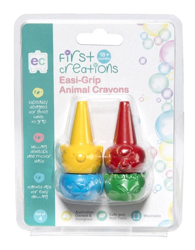 First Creations - Crayons & Chalk - Easi-Grip Animal Crayons Set of 4