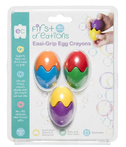 First Creations - Crayons & Chalk - Easi-Grip Egg Crayons Set of 3
