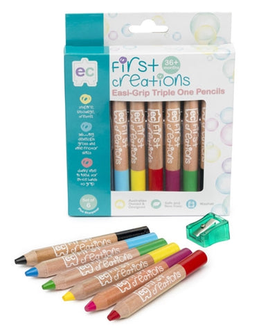 First Creations - Wooden Pencils - Easi-Grip Watercolour Pencils Packet of 6
