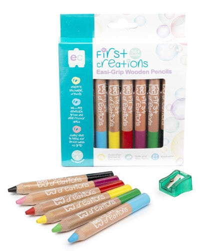 First Creations - Wooden Pencils - Easi-Grip Wooden Pencils Packet of 6