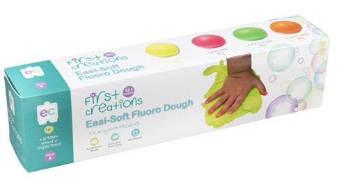 First Creations - Easi-Soft Dough & Stamps - Easi-Soft Fluoro Dough Set of 4