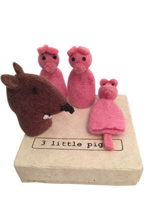 "Felt Finger Puppets ""Three Little Pigs"""