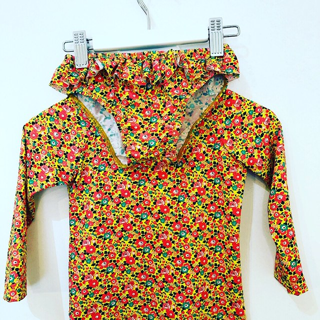 ZOE ELIZABETH Liberty Print Lycra Rash Vest and Frilly Bloomer Yellow Flowers