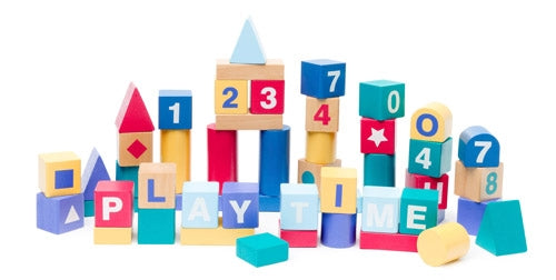 Premium Wooden Toys - Build and Play Alphabet Blocks Set of 50