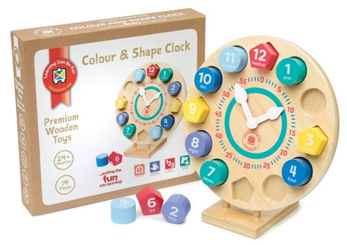 Premium Wooden Toys - Colour and Shape Clock