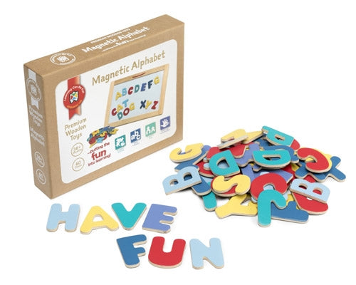 Premium Wooden Toys - Magnetic Alphabet Set of 60 pieces