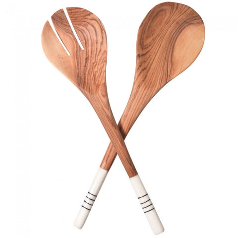 Wood & Bone Salad Servers - Lines 10''