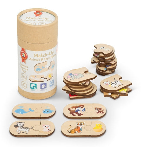 Premium Wooden Toys - Match-Up Animals and Their Babies