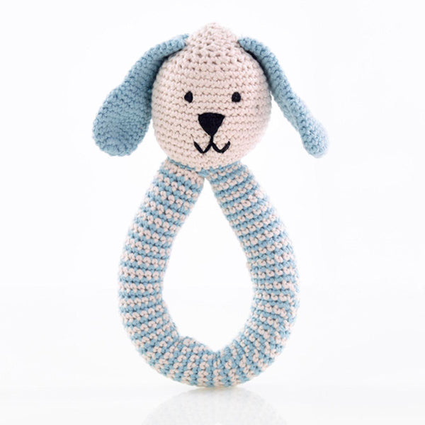Pebble Bunny Rattle Teal & Duck Egg Blue
