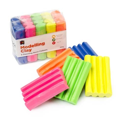 Educational Colours - Fun Clay Fluoro 5 Colours 50G x Bl,Or,Yl,Pnk & Gr