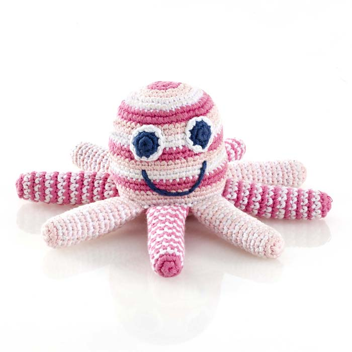 Pebble Octopus Rattle Pink & Blue
