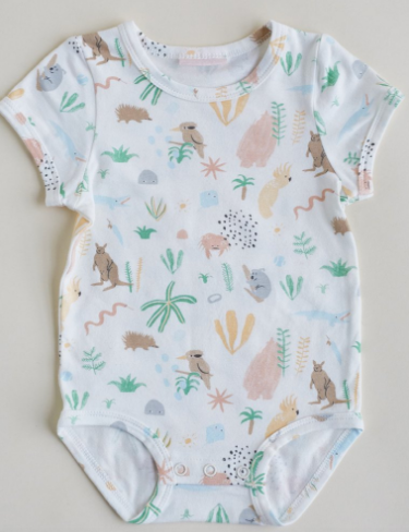 Outback Dreamers Print Baby Short Sleeve Romper