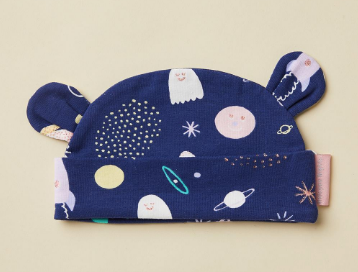 Space Out Lunar Print Baby Hat