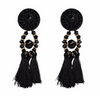 Bling Earrings Black Tassels