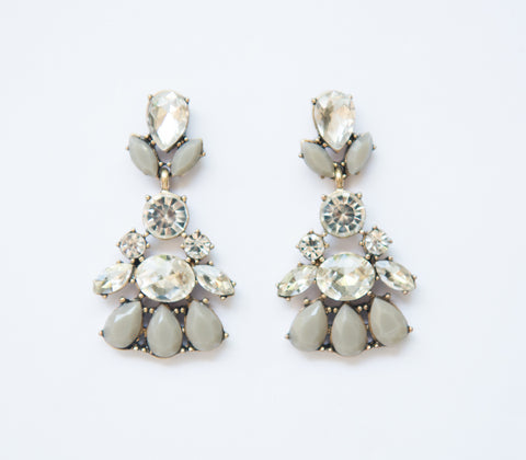 Bling Earrings Medium Drop Diamond Flowers