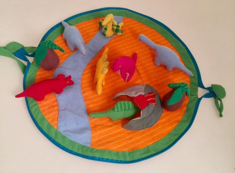 Dinosaur Pouch and Play Mat