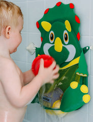 Quokka Kids Dinosaur Bath Toy Organiser with extra strong suction hooks and large mesh net for toy storage or use as a shower caddy