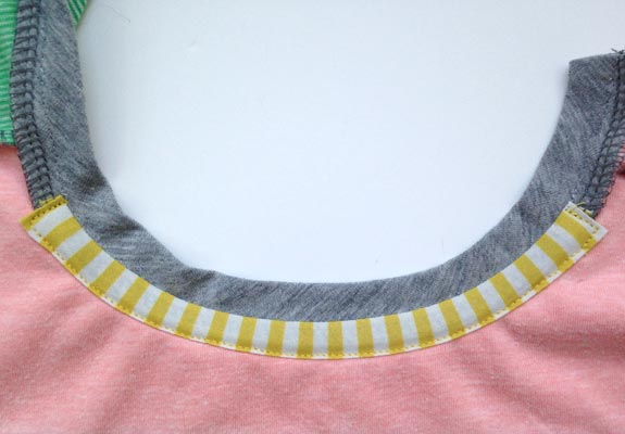 Inside bias neck tape
