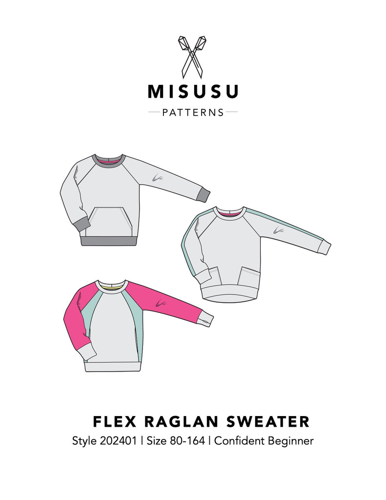 BUNDLE - Flex Raglan Sweater & Shuffle Add On PDF Sewing Pattern Bundle