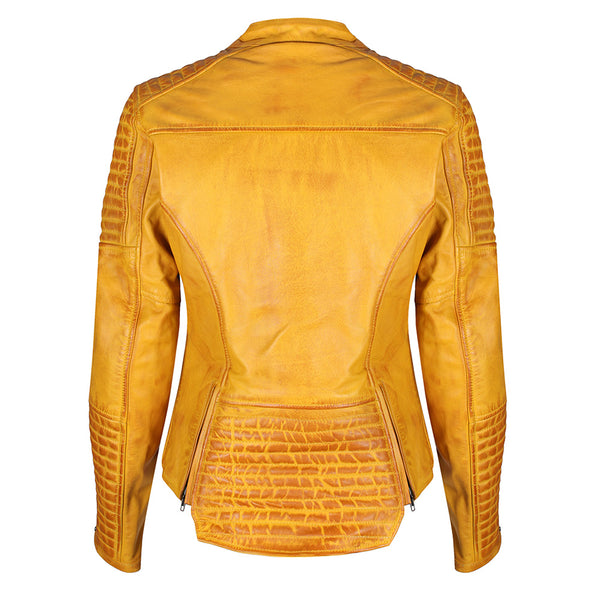 MotoGirl Valerie Yellow Leather Jacket