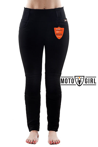 MotoGirl Ribbed Leggings - AA Rated with Hip Armour
