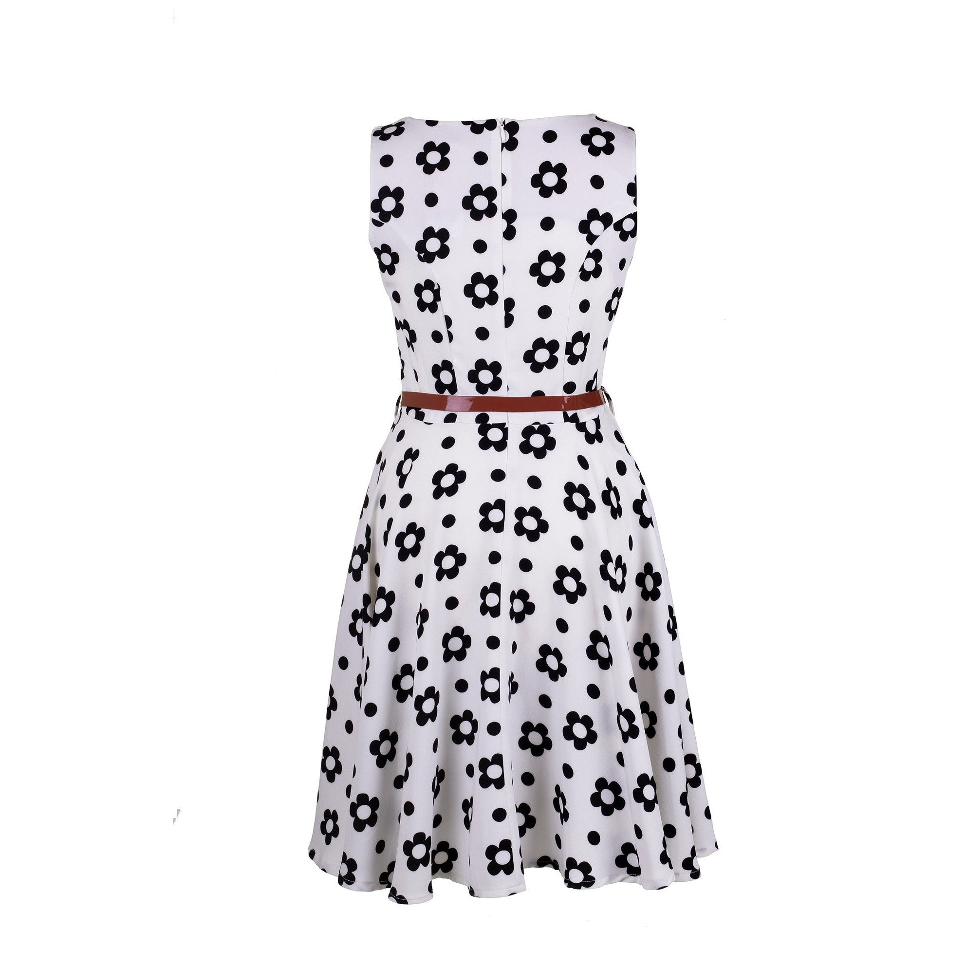 Flower Print Skater Dress With Pockets White And Black And Black
