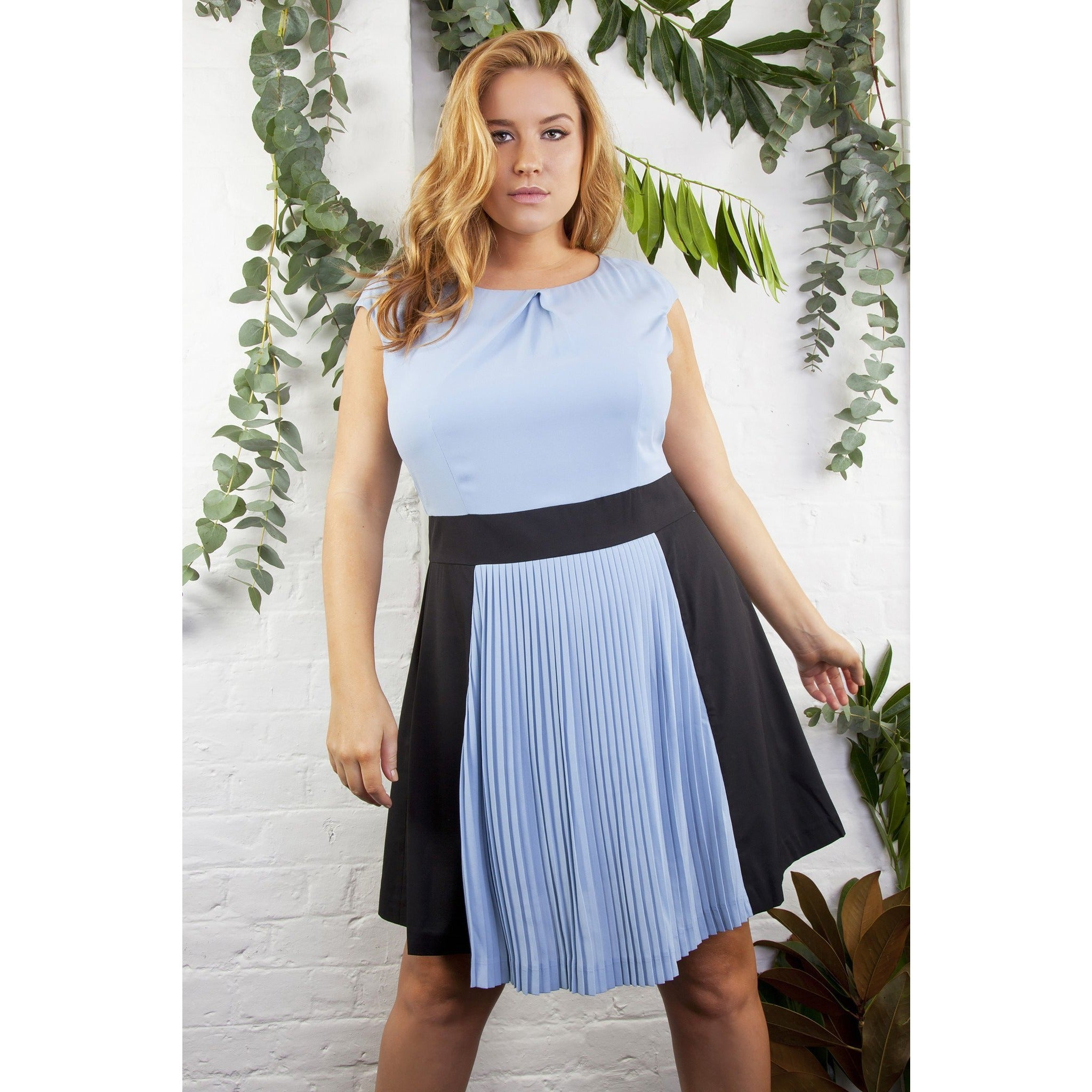 47e7a2f47 ATHENA PLEATED COLOUR BLOCK DRESS CURVE – Bubb Hub Clothing