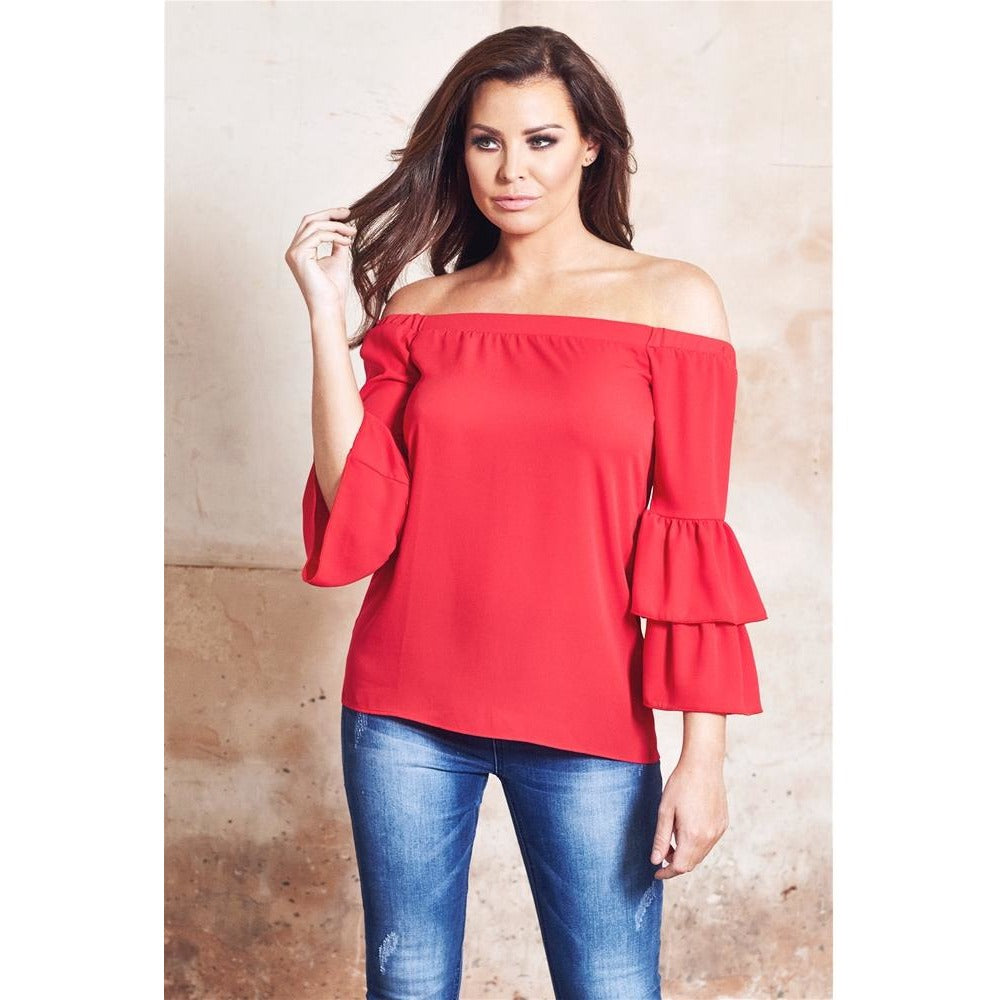 c2843625835 Jessica Wright Heloisa Red Off The Shoulder Top With Frilled Sleeves