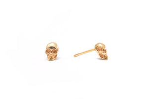 Skull Mini Stud Gold Plated Silver