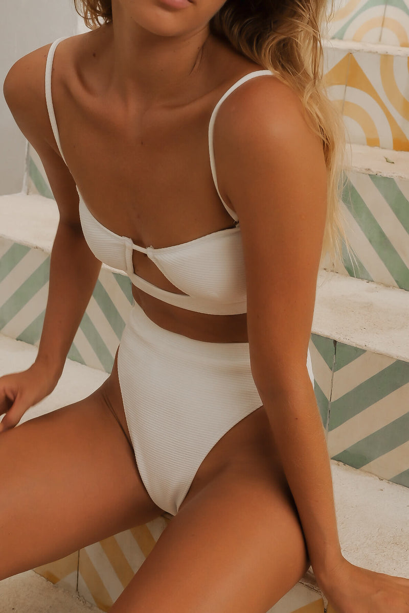 white bikini bottoms high waisted, Charlie Mae Swimwear, recycled swimwear australia, swimwear boutique online, australian swimwear brands,  australian swimwear boutique, sustainable australian swimwear, ethical swimwear australia, australian swimwear online, australian swimwear brands list,