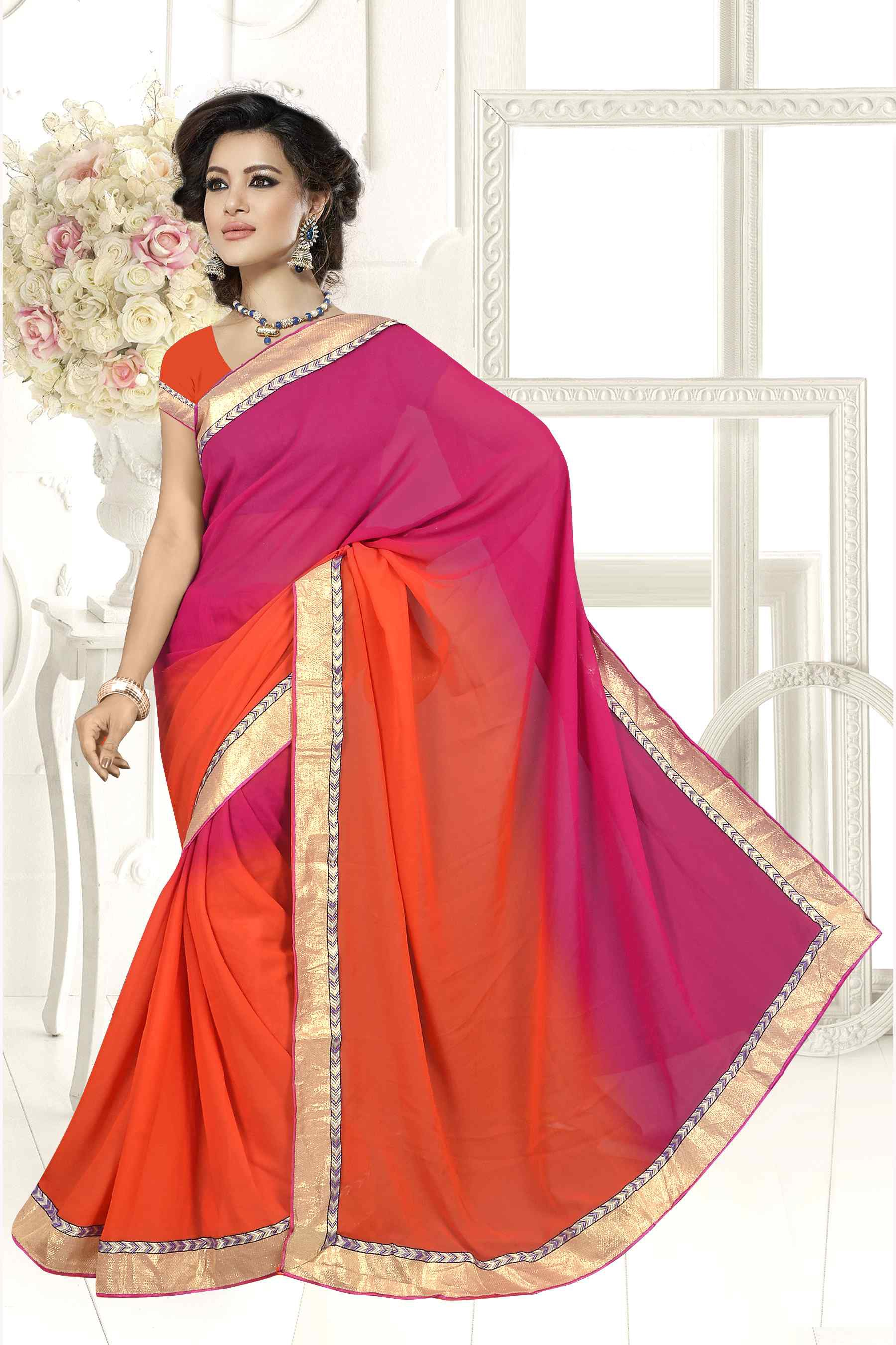 Wonderful Plain Pallu Saree In Pink U0026 Deep Orange Color 26540624