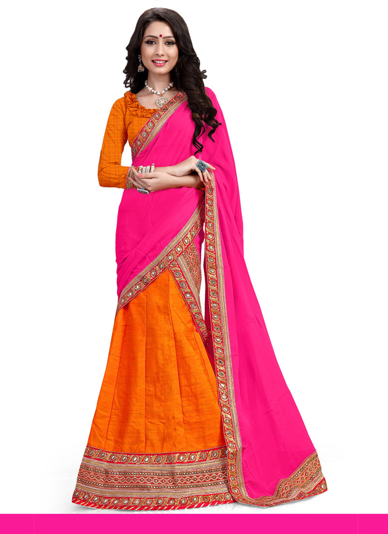 Womenu0027s Pretty A Line Lehenga Style In Deep Orange Color With Crystals  Stones Work Dupatta 26556479
