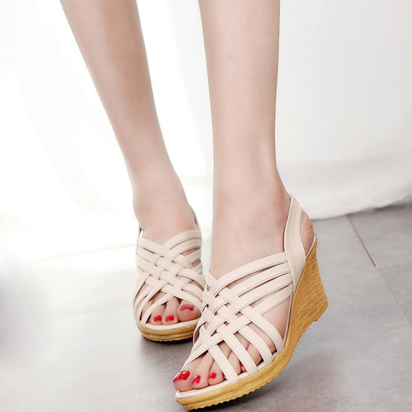 Woman Wedge SandalsZYUPUP Spring/Autumn Solid Color Ankle Strap Sandal High Platforms Pattern Checkered Belt Gladiator Shoes