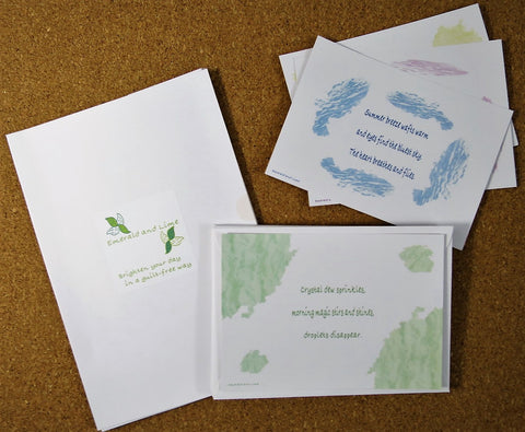 Pack of eight eco-friendly A6 note cards. 350gsm recycled card. White recycled envelopes. Original Haiku, inspiring, decorative designs. Green gift under £10.