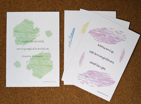Beautiful, eco-friendly, A5 unframed art prints. Original Haiku and decorative designs on 100% recycled card. Home decor, or ideal green gift under £25.