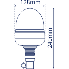 Flexi Din Mount Rotating Acorn Beacon - Amber Only - LAP
