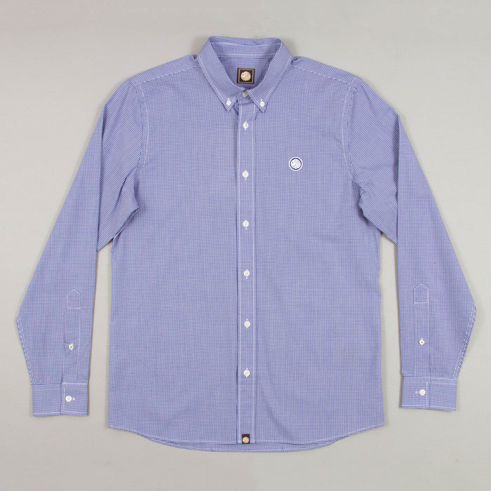 Hendry Gingham Long Sleeve Shirt in BLUEPRETTY GREEN - CACTWS