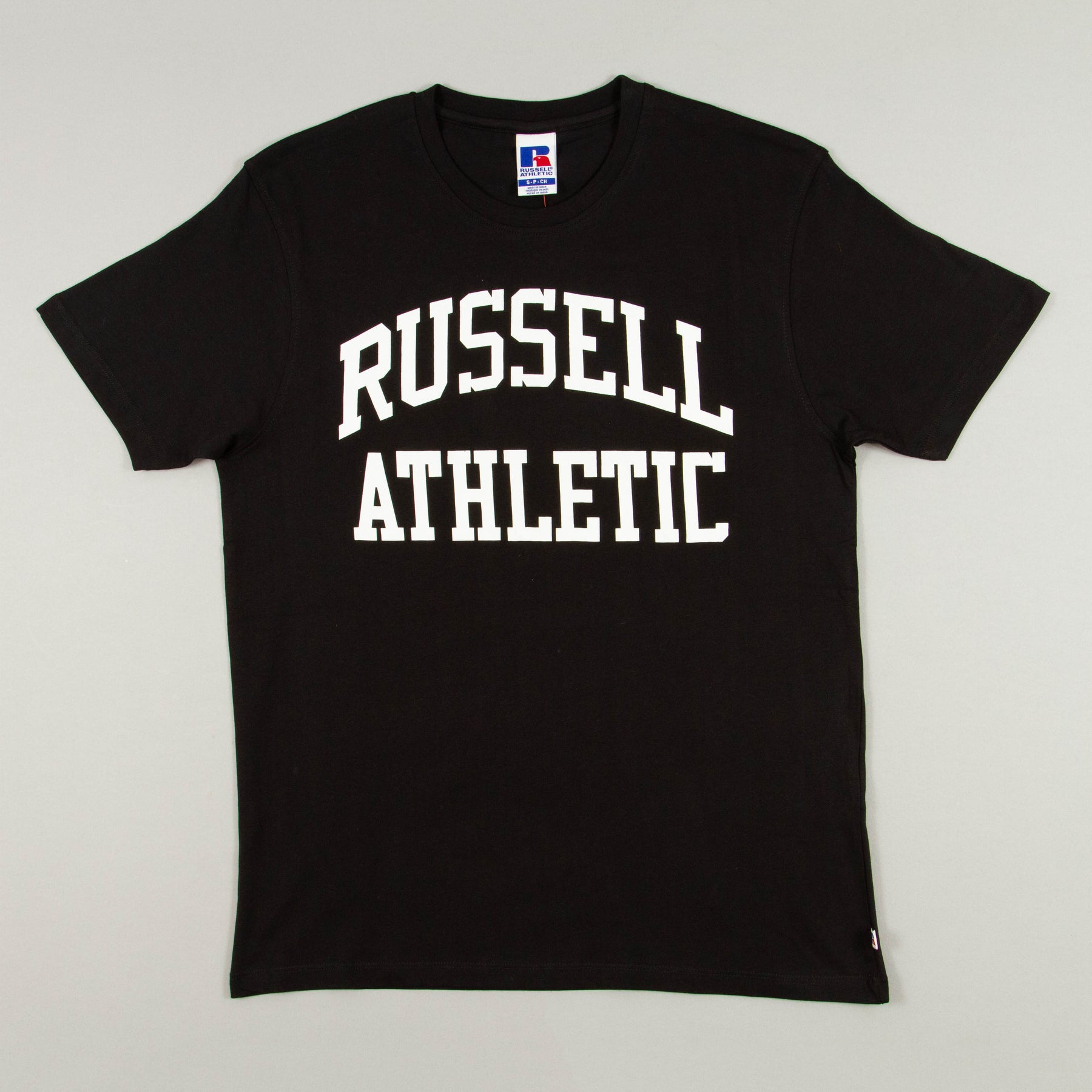Chest Logo Short Sleeve Crew Neck T-Shirt in BLACKRUSSELL ATHLETIC - CACTWS