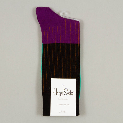 Block Rib Socks in BLACK, PURPLE & TEAL
