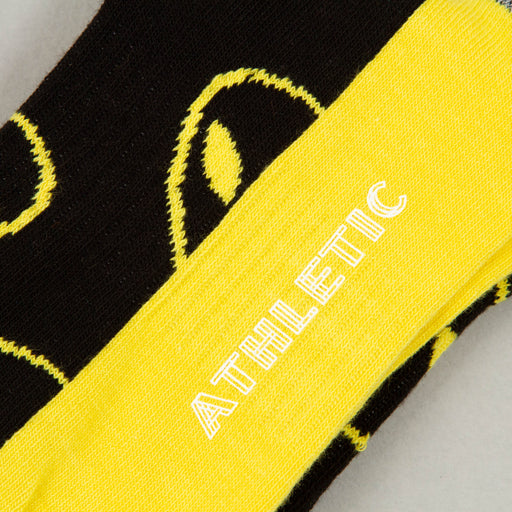 Athletic Alien Mid High Socks in BLUE & YELLOWHAPPY SOCKS - CACTWS
