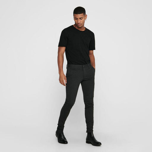 ONLY & SONS Mark Striped Pant Trousers in BLACK