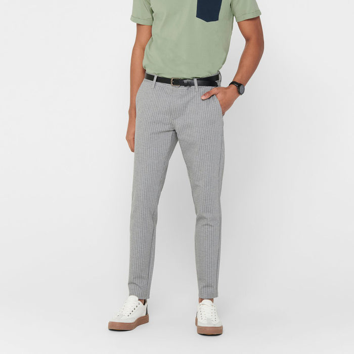 ONLY & SONS Mark Striped Pant Trousers in LIGHT GREY MELANGE