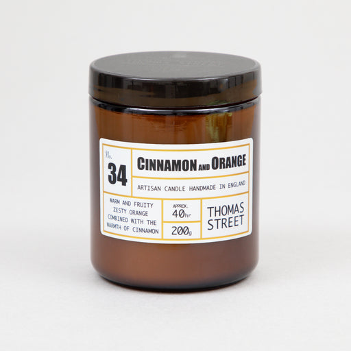 THOMAS STREET CANDLES #34 Cinnamon & Orange Glass Candle (200g)