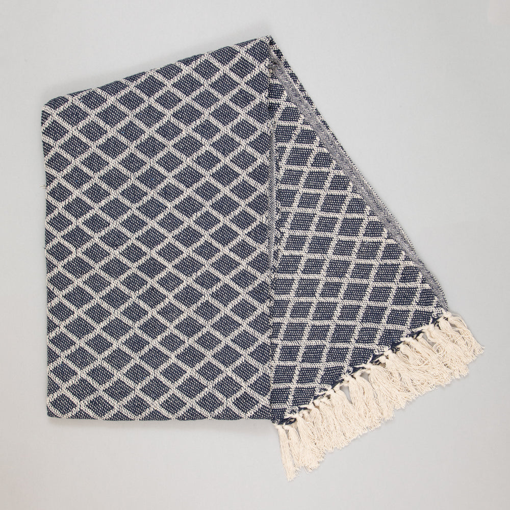 ARABE Plaid Throw in NATURAL & BLUE