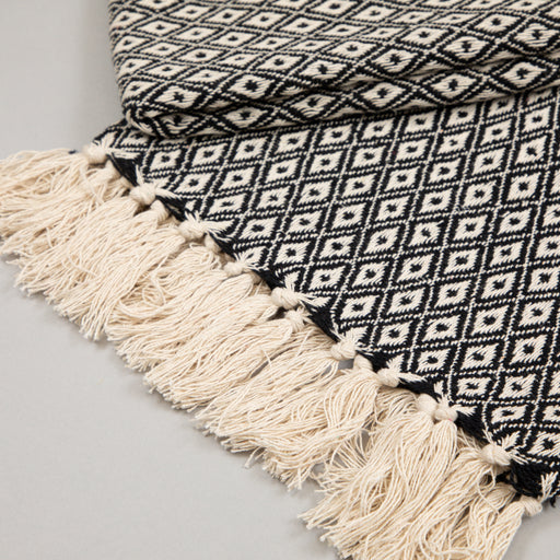 Light & Living ARABE Plaid Throw in BLACK