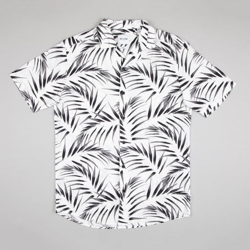 Asmus Short Sleeve Slub Shirt in CLOUD DANCER & PALM LEAFS