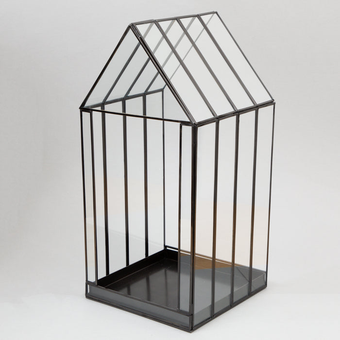 BEROGY Tall House Shaped Glass Terrarium Display Case in BLACK