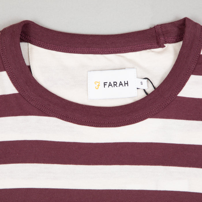 FARAH Belgrove Stripe Tee in FARAH RED & ECRU