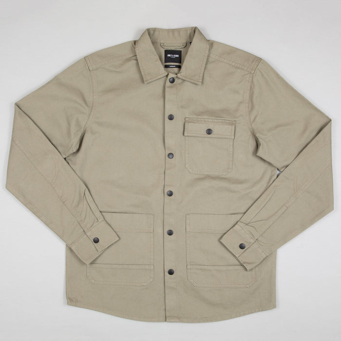 Benjamin Heavy Twill Overshirt in VETIVER